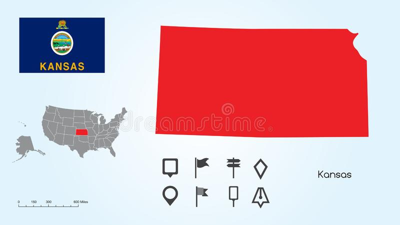 Map of The United States with the Selected State of Kansas And Kansas Flag with Locator Collection royalty free illustration