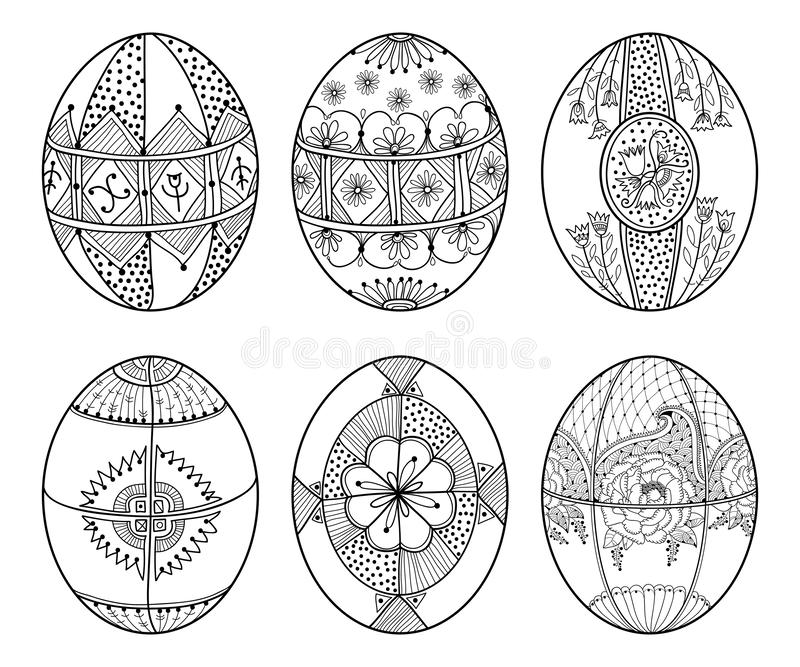 Vector set of outline ethnic Ukrainian Easter egg Pysanka in black isolated on white background. Traditional Christian food. Vector set of outline ethnic royalty free illustration