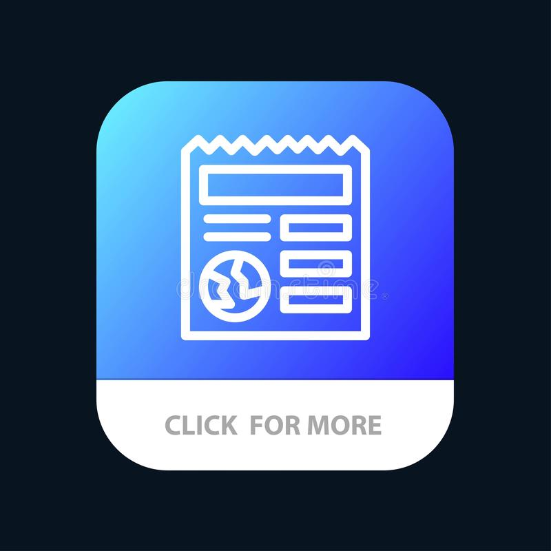 Basic, Document, Globe, Ui Mobile App Button. Android and IOS Line Version vector illustration