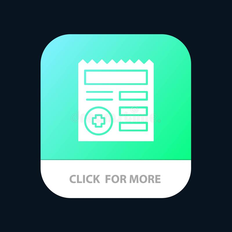Basic, Document, Ui, Medical Mobile App Button. Android and IOS Glyph Version stock illustration