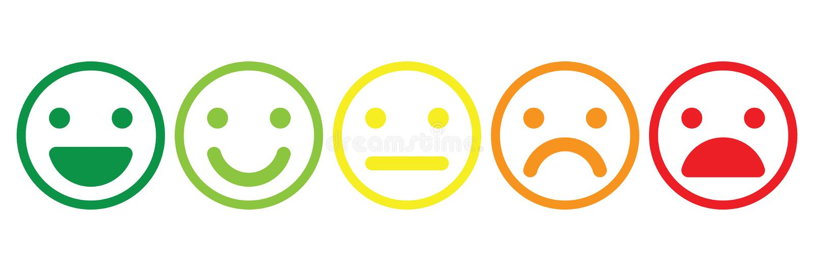 Basic emoticons set. Five facial expression of feedback scale - from positive to negative. Simple colored vector icons.  stock illustration
