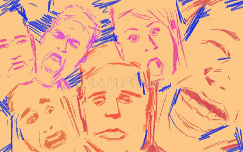 Basic emotions expressed by different human faces. Drawing colorful style stock image