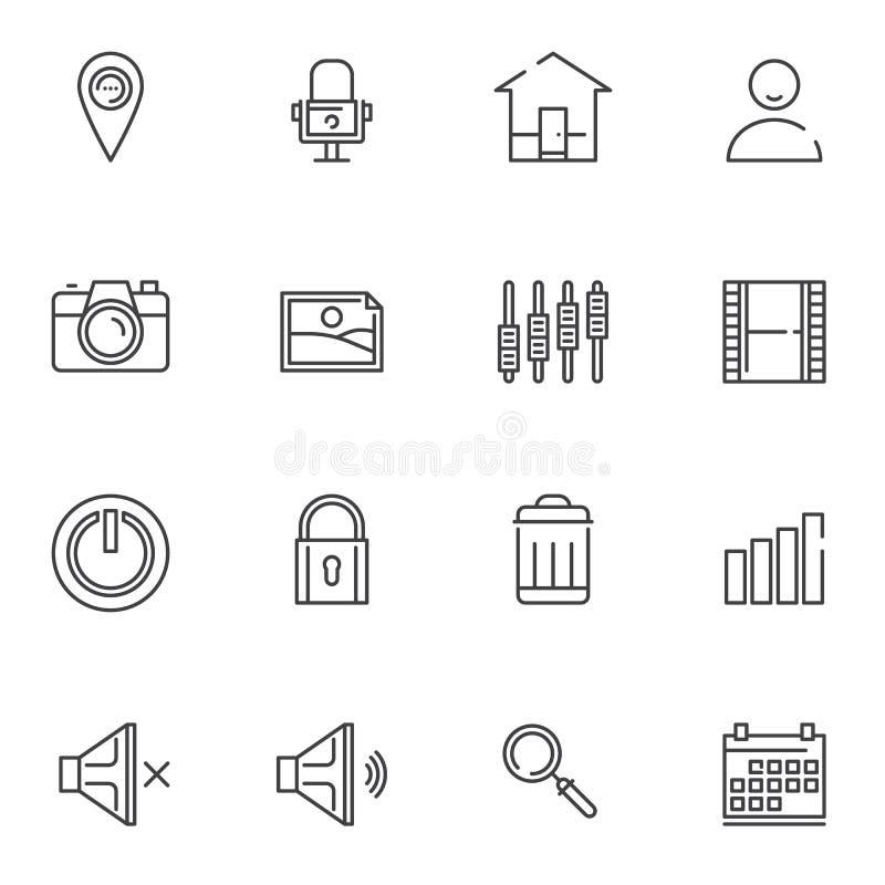 Basic essentials line icons set vector illustration