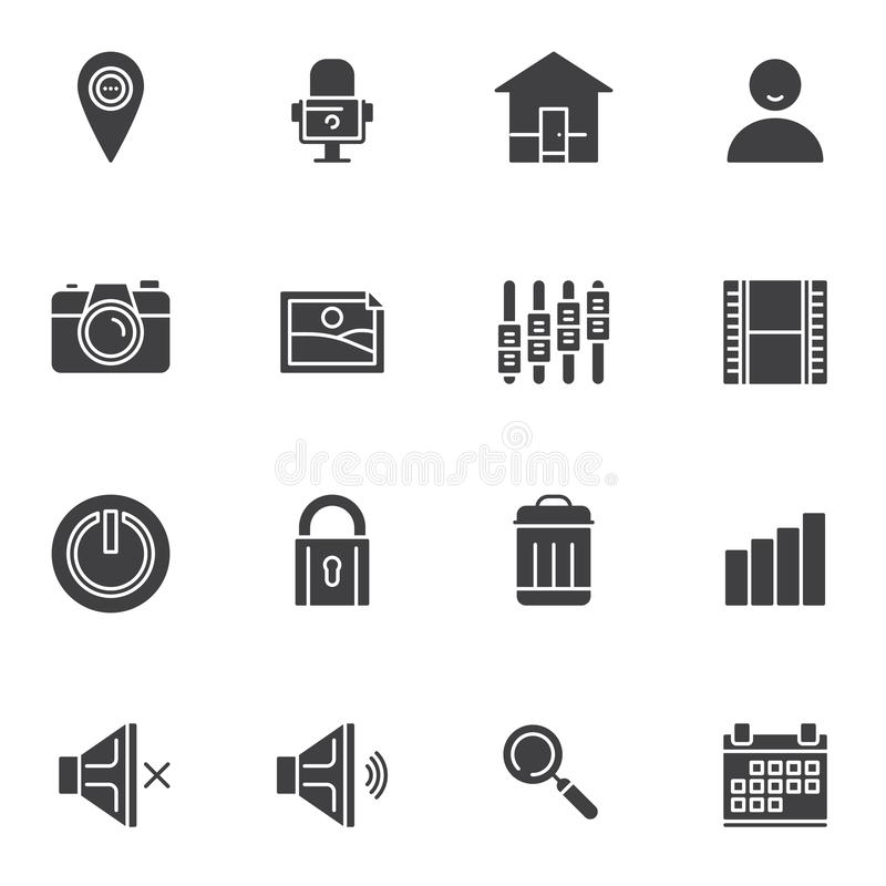 Basic essentials vector icons set stock illustration
