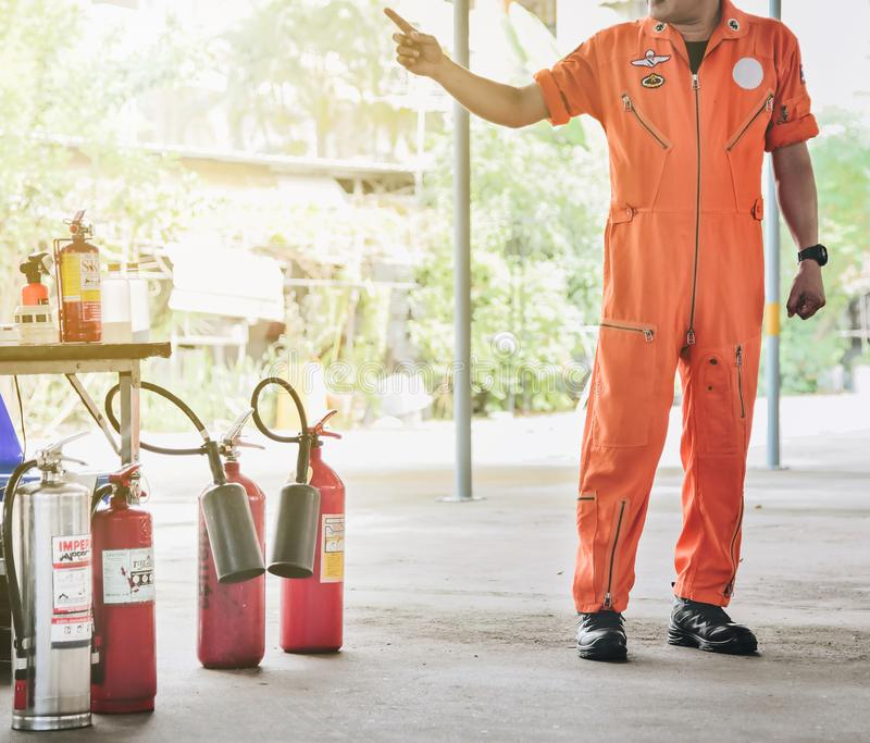 Basic fire fighting and evacuation fire drill Training on novembe stock photography