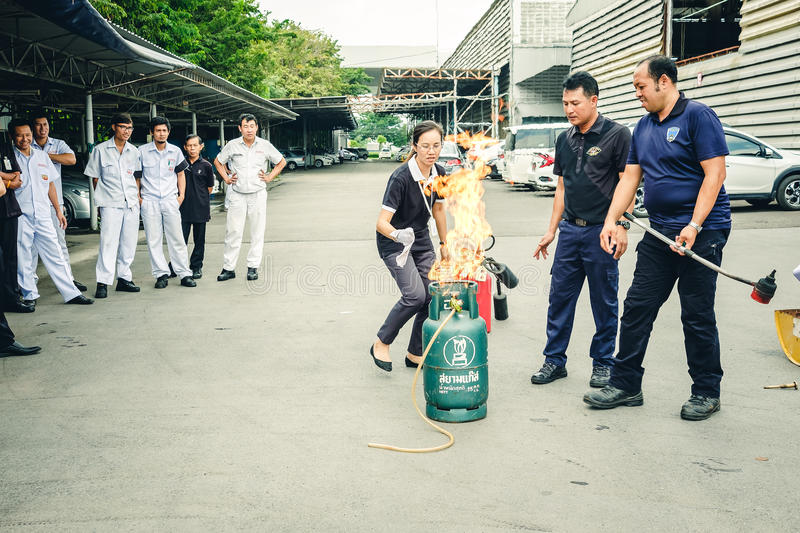 Basic Fire Fighting and Evacuation Fire Drill Training on October 26 , 2016 in Bangkok, Thailand royalty free stock image