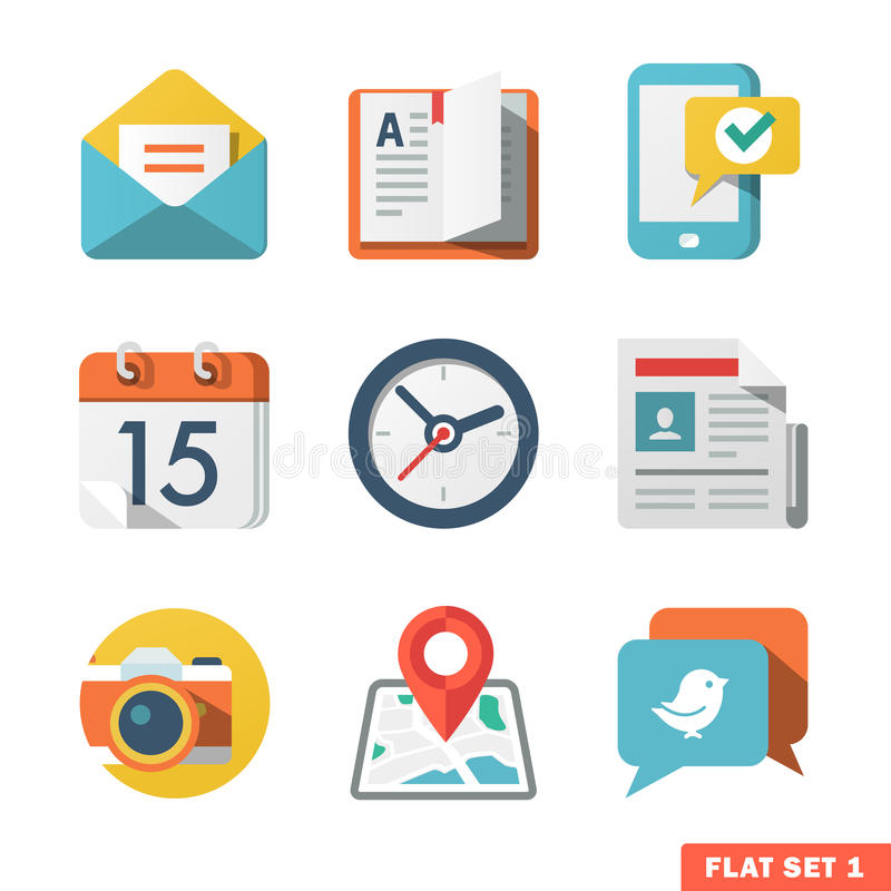 Basic Flat icon set for Web and Mobile Application. News, communications