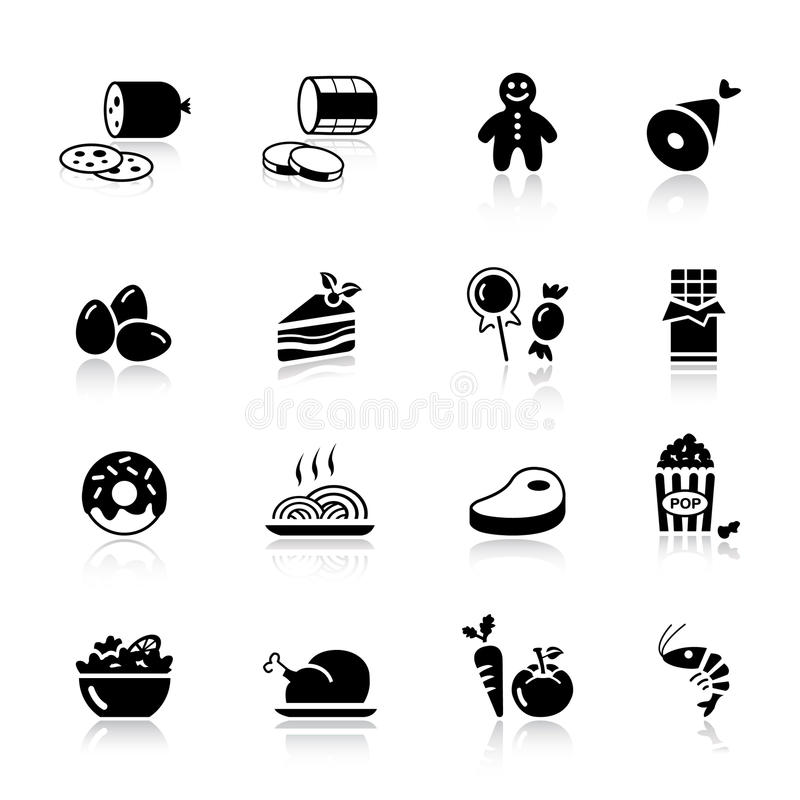 Basic - Food Icons. 16 food and restaurant icons set stock illustration