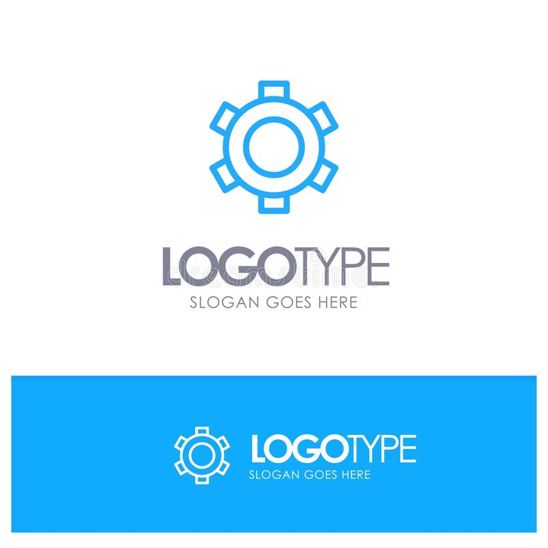 Basic, Gear, Setting, Ui Blue outLine Logo with place for tagline royalty free illustration