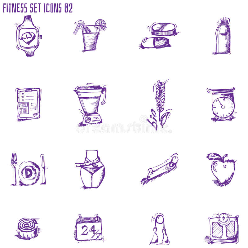 Basic - Health and Fitness icons. EPS 10 stock illustration