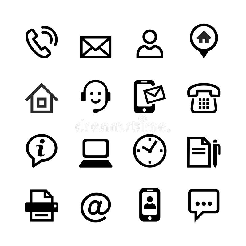 16 basic icons - contact us. Set of 16 basic web icons - contact us