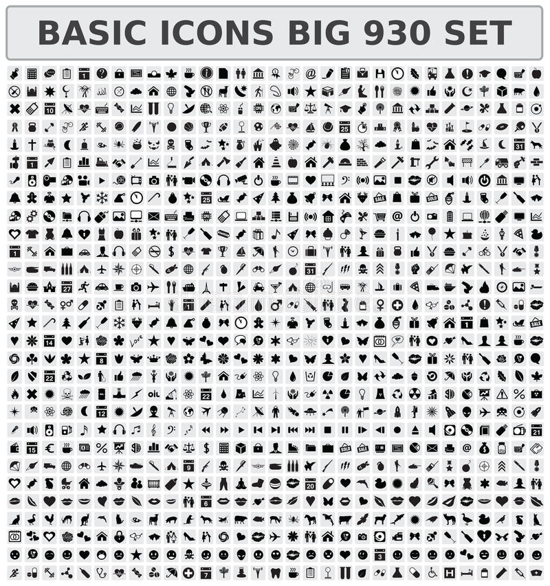 Basic icons 930 set. Big