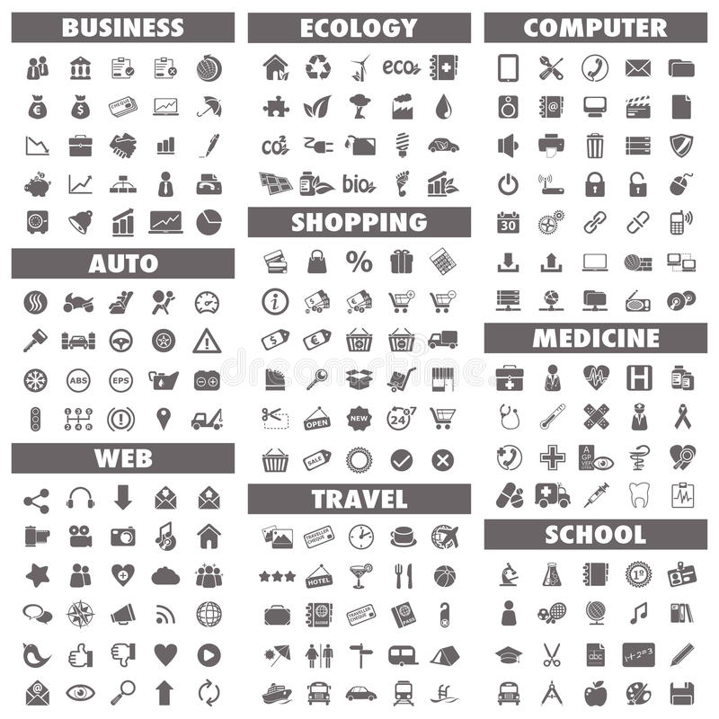 Basic icons set vector illustration