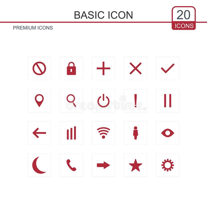 Basic icons set vector royalty free illustration