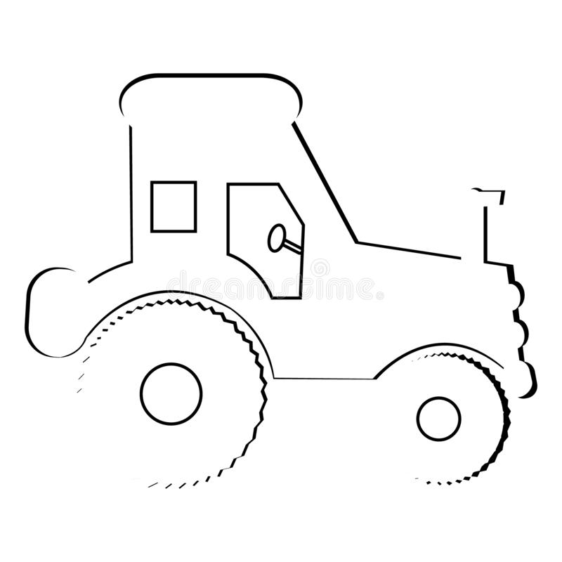 Simple tractor illustration. Basic illustration of an outline of a tractor royalty free illustration