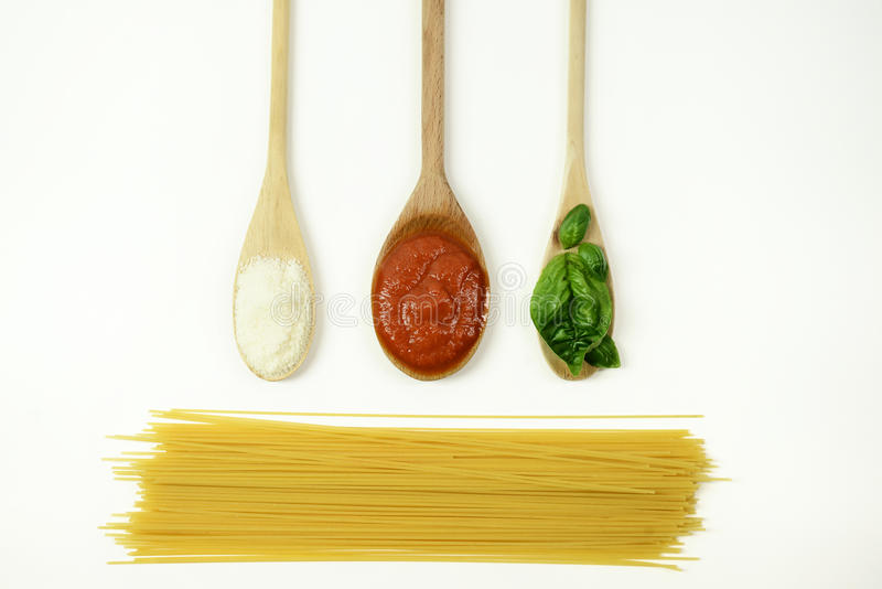 Basic ingredients for Italian Spaghetti stock photography