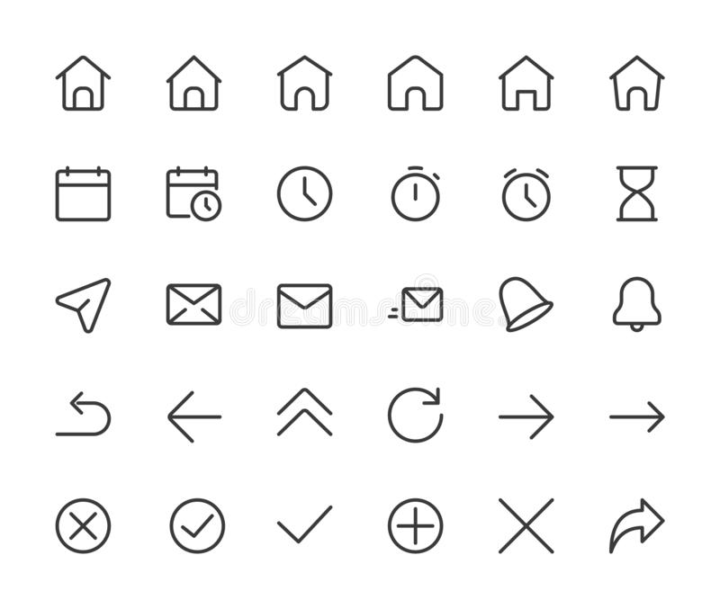 Basic interface small line icons. Home,clock and arrows, pixel perfect icons with editable icons. 16*16 px vector illustration