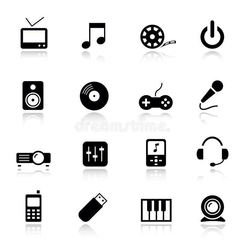 Download Basic - Media Icons stock vector. Image of film, disc - 19823004