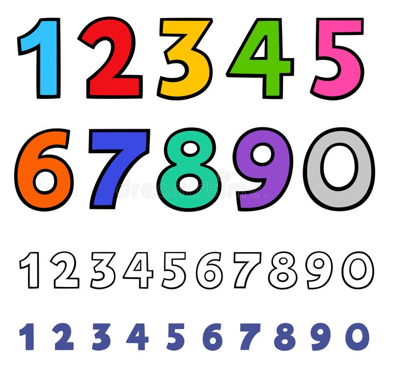 Basic numbers cartoon characters set royalty free illustration