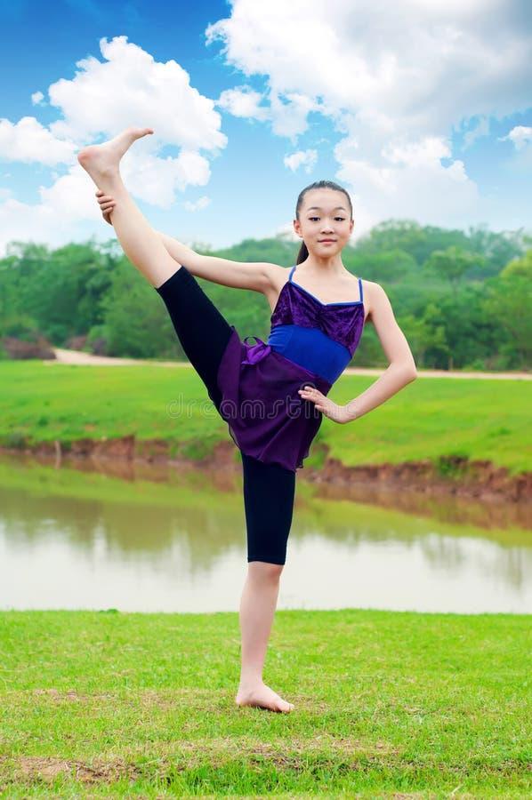 The basic practice dancing girl royalty free stock image
