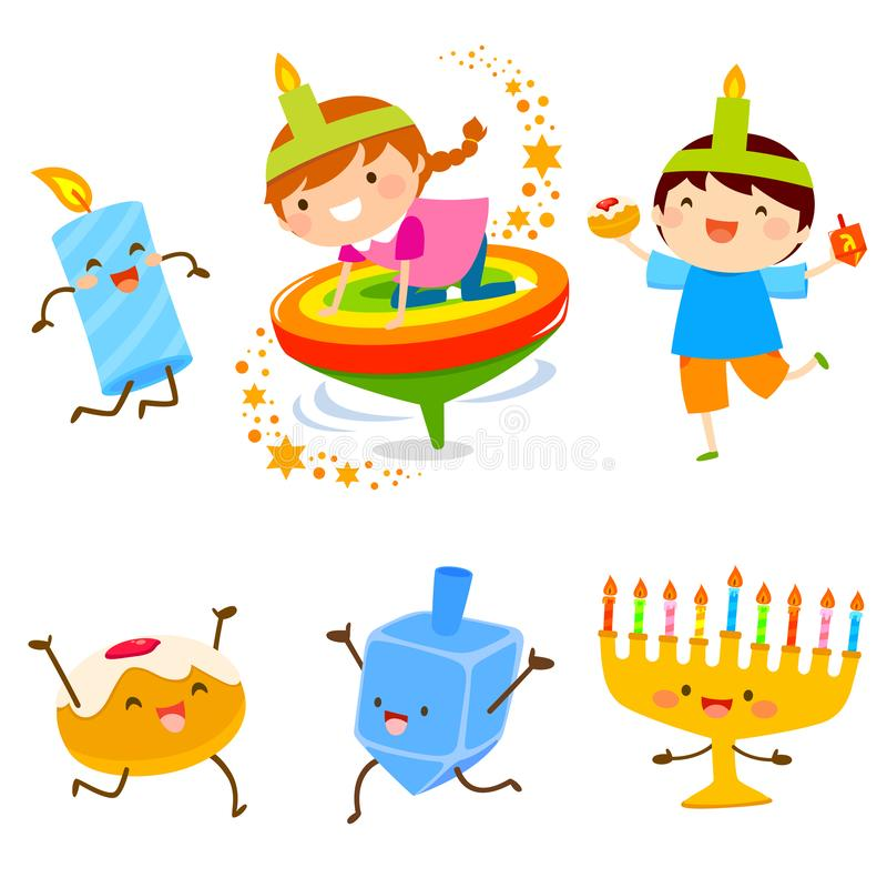 Hanukkah Cartoons set stock illustration
