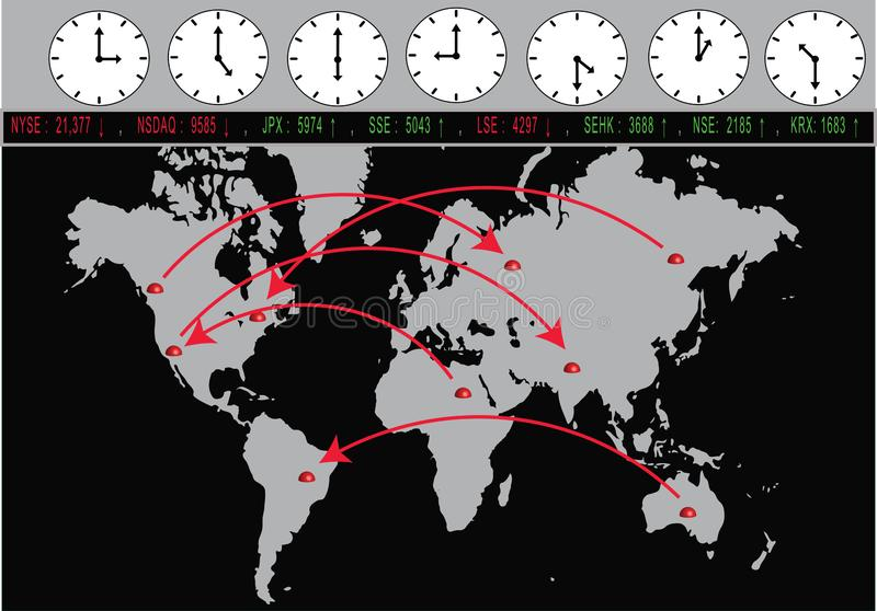 Global Trading With Exchanges And Time Zones. World map with major cities on it and arrows connecting them. Global stock exchanges and time zones on top stock illustration