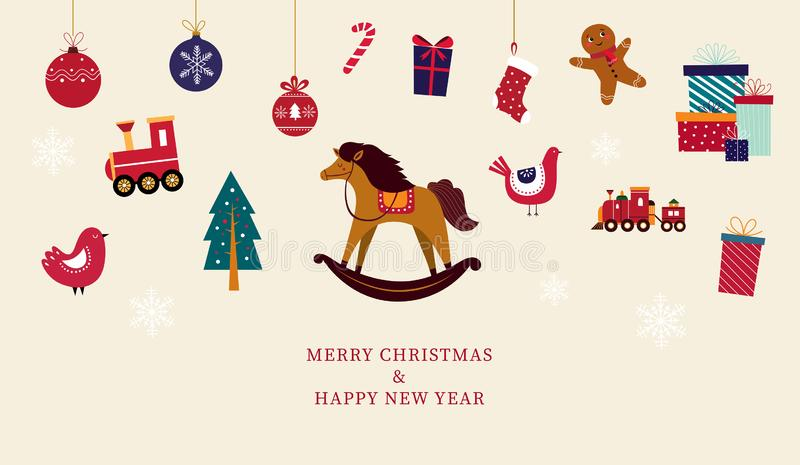 Christmas greeting card with toys stock illustration