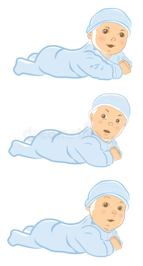 Cute little baby boy. Crawling baby boy in the blue overall. vector illustration
