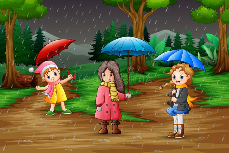 Cartoon three girl carrying umbrella under the rain in the forest stock illustration