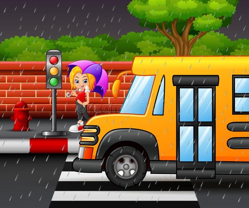 Cartoon girl carrying umbrella under the rain on the roadside. Illustration of Cartoon girl carrying umbrella under the rain on the roadside vector illustration
