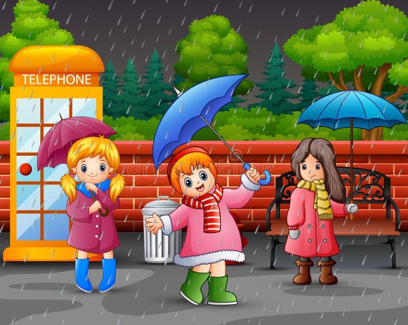 Cartoon two girl carrying umbrella under the rain on the roadside. Illustration of Cartoon two girl carrying umbrella under the rain on the roadside royalty free illustration