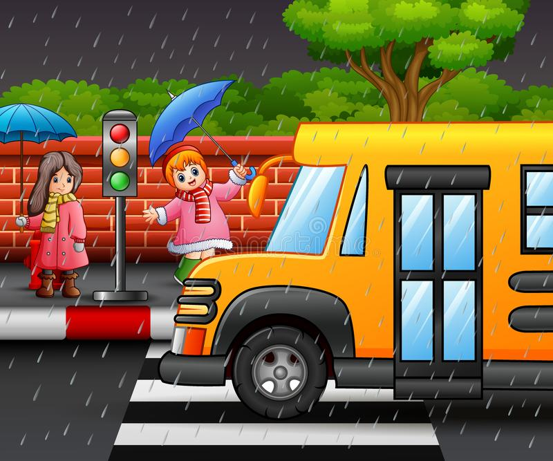 Cartoon two girl carrying umbrella under the rain on the roadside. Illustration of Cartoon two girl carrying umbrella under the rain on the roadside vector illustration