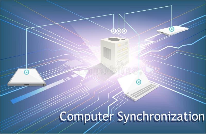 Computer synchronization data network management,Database hosting server. stock illustration