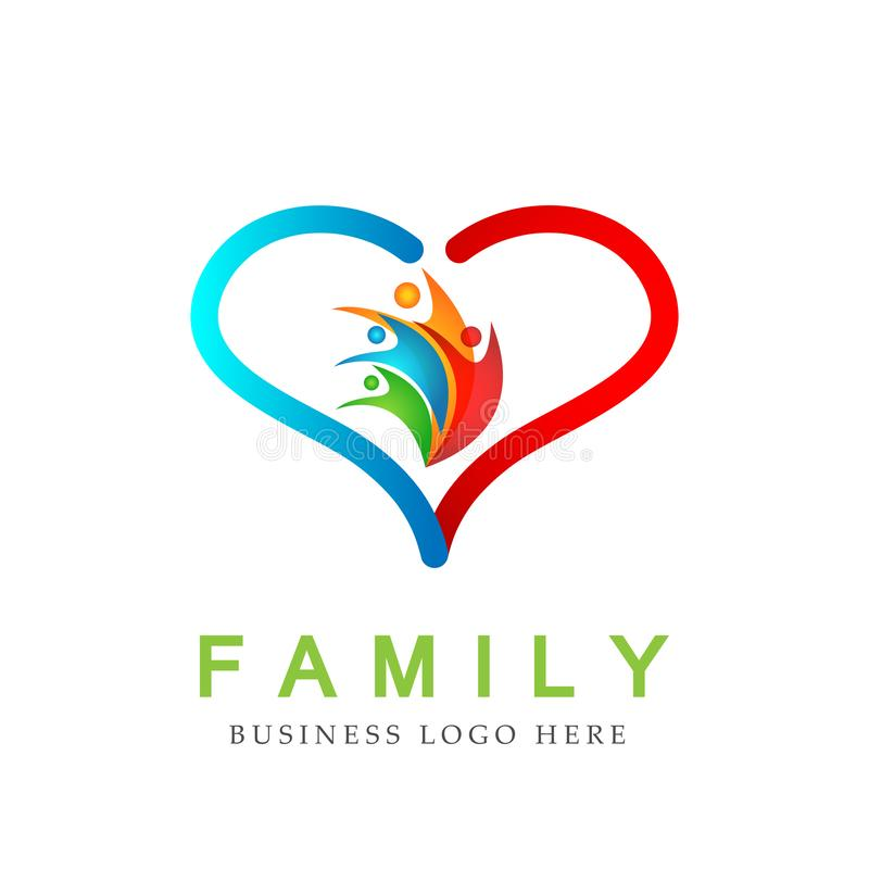 Family in heart shaped logo, family, parent, kids,green love, parenting, care, symbol icon design vector on white background. In ai 10 illustrations royalty free illustration