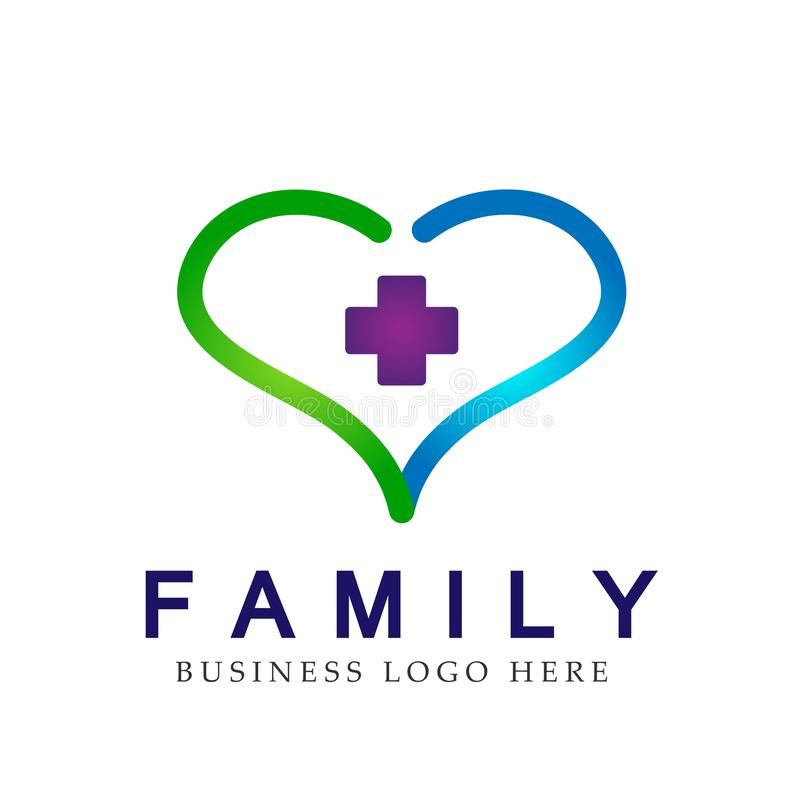 Heart medical clinic cross happy healthy family logo on white background. In ai10 illustrations vector illustration