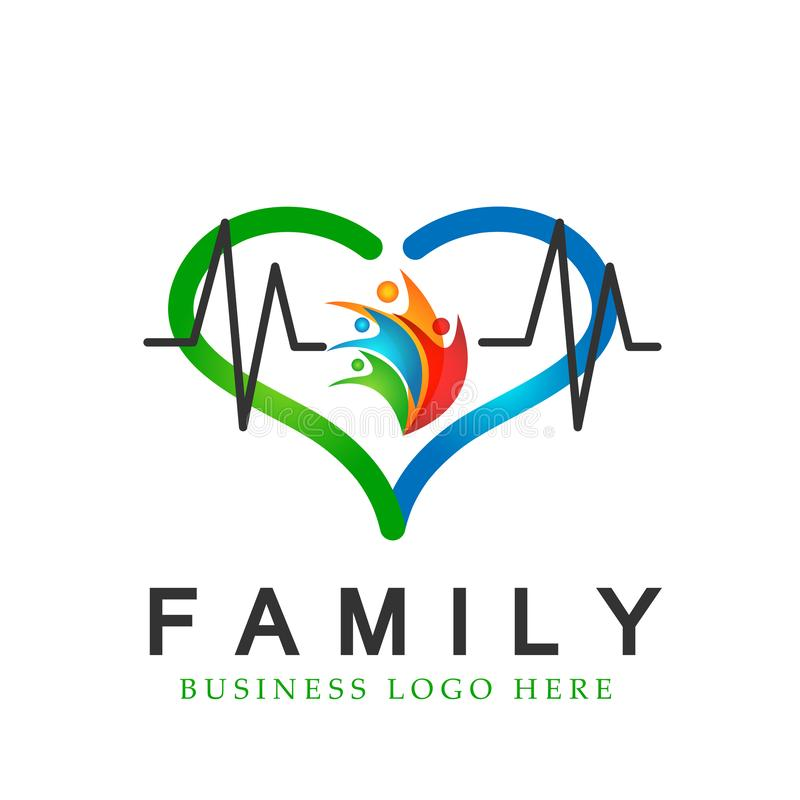 Happy Family in heart shaped medical healthy life cross logo parent kids love, care, symbol icon design vector on white background vector illustration