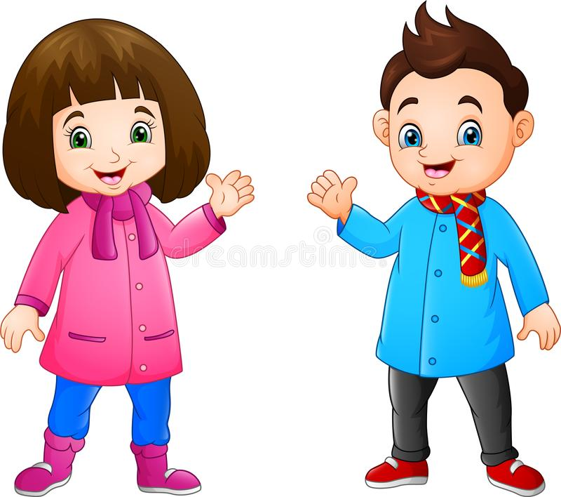Cartoon little girl and boy wearing winter clothes vector illustration