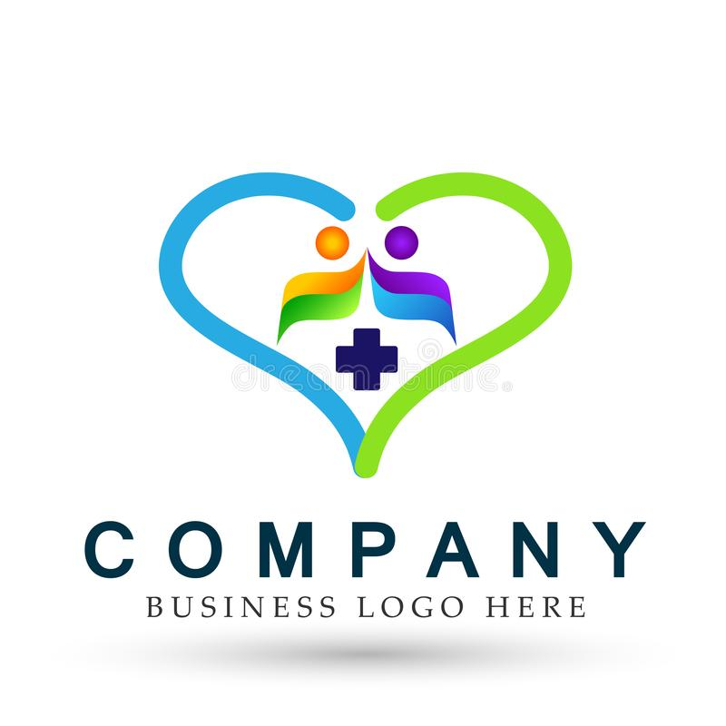 Happy Family in heart shaped medical healthy life cross logo parent kids love, care, symbol icon design vector on white background. Family heart medical healthy vector illustration