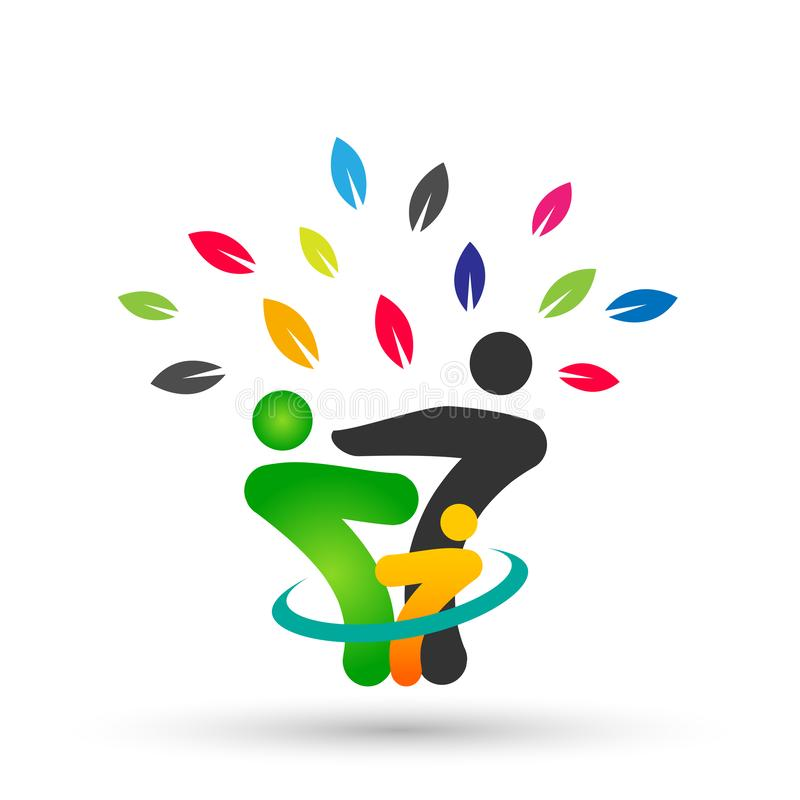 Family tree in happy union logo, family, parent, kids,green love, parenting, care, symbol icon design vector on white background. Family tree colored in happy stock illustration