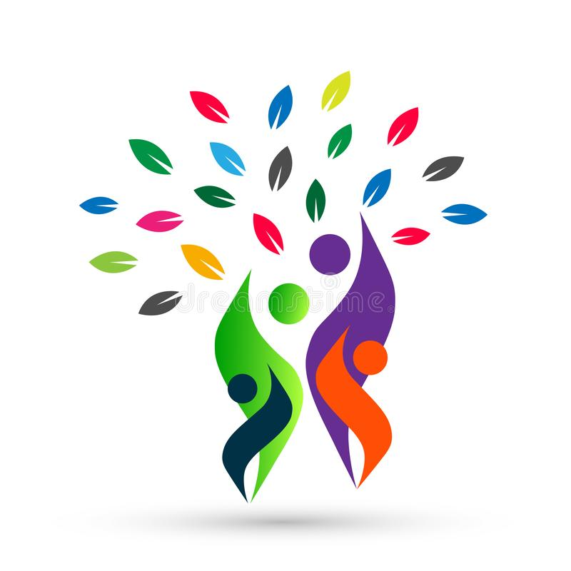 Family tree in happy union logo, family, parent, kids,green love, parenting, care, symbol icon design vector on white background. Family tree in flame shaped stock illustration