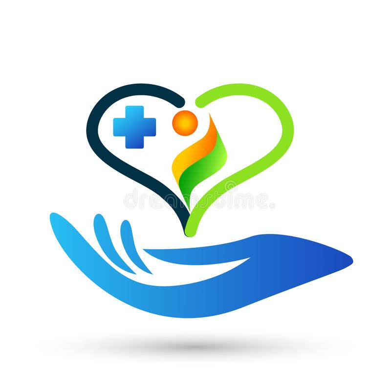 Family medical healthy life cross clinic hands care logo parent kids love, protect symbol icon design vector on white background. Family hands care medical heart stock illustration