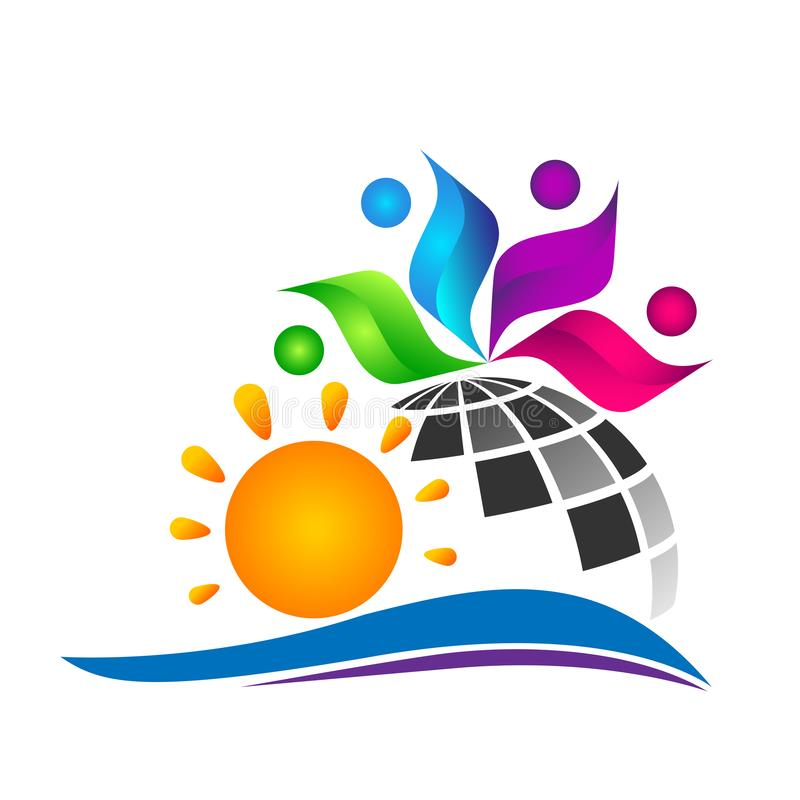 Abstract globe world sun colorful people report wellness together logo icon concept vector illustrations on white background. Illustrations on white background stock illustration