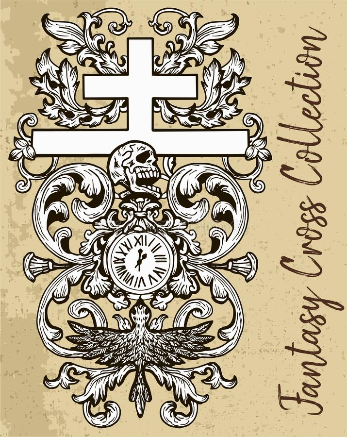 Fantasy cross with baroque floral pattern, clock and human skull. royalty free illustration