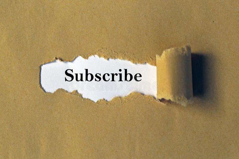 Subscribe heading. Under brown ripped paper royalty free illustration