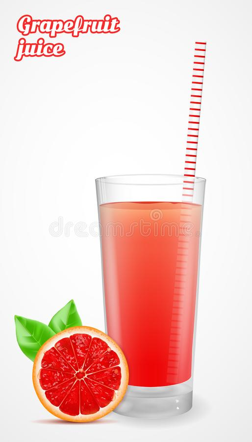 Red grapefruit slice with leaf and grapefruit juice in a glass. Vector illustration. Red grapefruit slice with leaf and grapefruit juice in a glass. Vector stock illustration