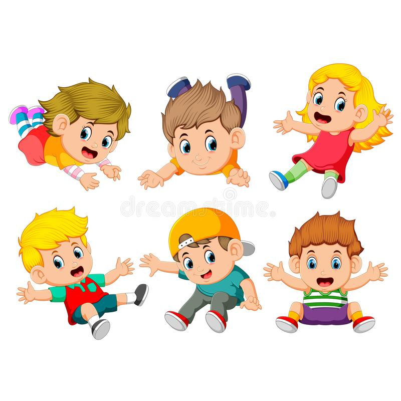 The collection of the children flying with the different posing. Illustration of the collection of the children flying with the different posing royalty free illustration
