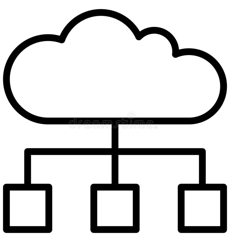 Cloud Hierarchy Isolated Vector Icon that can easily modify or edit. stock illustration