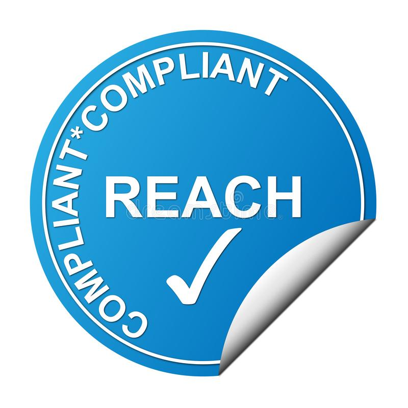 Reach heading sticker. Blue reach compliance sticker heading vector illustration