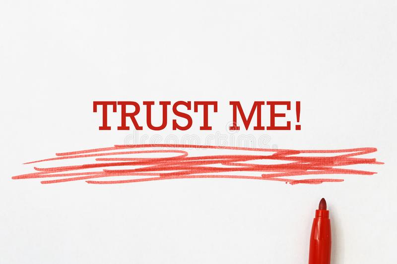 Trust me heading. Underlined in red pen royalty free illustration