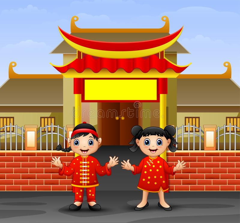 Cartoon chinese kids in front of the temple. Illustration of Cartoon chinese kids in front of the temple royalty free illustration